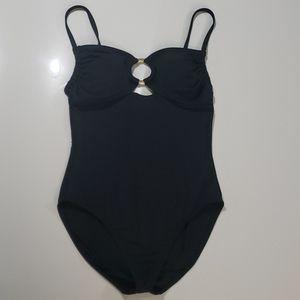 Michael Kors Black & Gold One Piece Swimsuit Sz 10